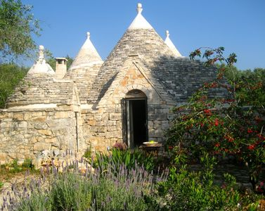 trullo entrance with cherries and lavander