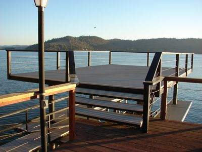 The deck features fantastic views of the lake and surrounding hills