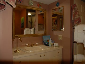 Vanity side of bathroom.