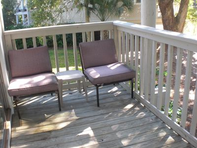 Wild Dunes condo rental - Nice deck off of each bedroom. Enjoy wildlife in the lagoon, turtles, ibis, etc.