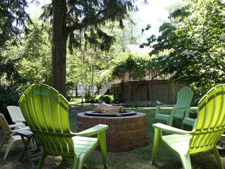 Union Pier cottage photo - Fire pit in backyard. This cottage's outside is as nice as the inside!