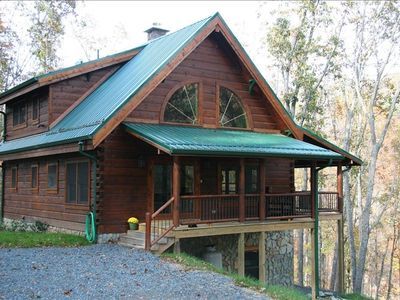West Jefferson cabin rental - Front view of Log Cabin with side entry porch