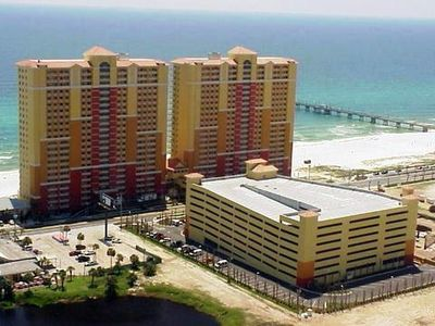Calypso Resort Towers with free covered parking garage across the street