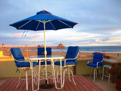 Huntington Beach condo rental - Patio view of Ruby's Diner and the Pier only a 5 minute walk.