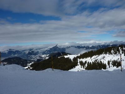 View from top of the piste at Sixt