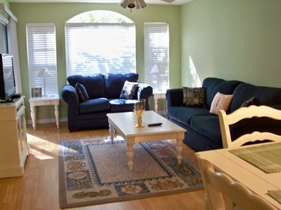 Living room with patio access-light, bright, airy- TV w/DVD