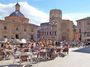 An historical square in the old town of Valencia