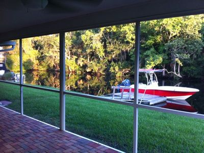 View from back porch to dock (boat not included).