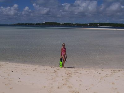 Tahiti Beach at low tide - a five minute golf cart ride from Abaco Vistas.