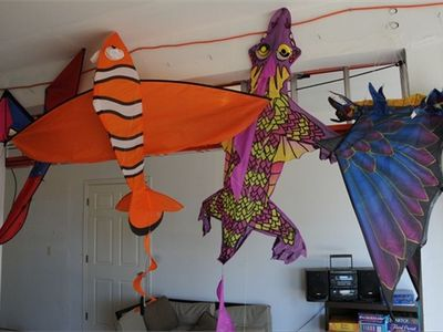 kites available in the garage next door
