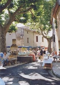View of the village square in front of the cafe, at the base of the Luberon