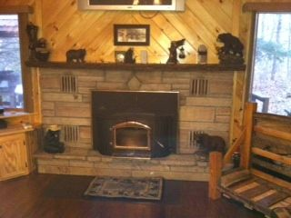 Chazy Lake house rental - Fireplace in Living Room