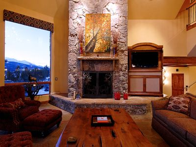 Historic District Breckenridge house rental - Camelot - Beautiful Stone Fireplace in Great Room, flat screen TV and Huge Windows to view Mountains from