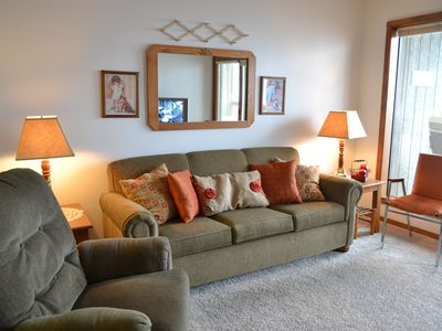 Branson West condo rental - Spacious comfortable living room. New couch and recliner.