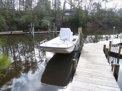Carolina Skiff available to rent. Must have boating experience.