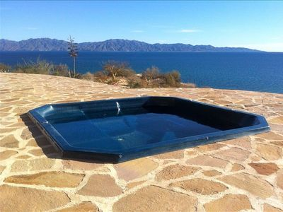 Hot tub overlooks the Sea of Cortez and Isla Cerralvo.