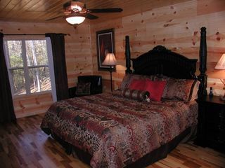Helen cabin photo - Master bedroom, corner fireplace, 42 inch plasma
