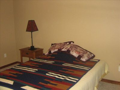 Custer cabin rental - Guest bedroom downstairs w/bathroom