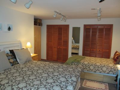 Large upstairs 'Family Bedroom w/ queen bed+twin; double closets, natural light