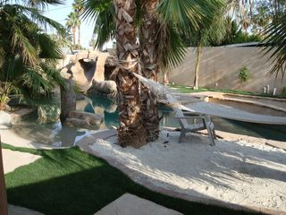 Palm Springs villa photo - Hammock, sandy beach, and beach entry.