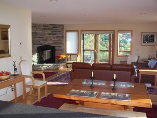 Ellicottville chalet photo - Dining, great room with fireplace and views