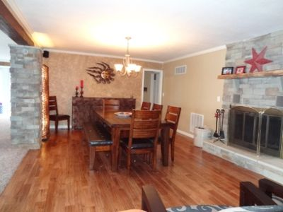 Large kitchen table area. Seats 8.
