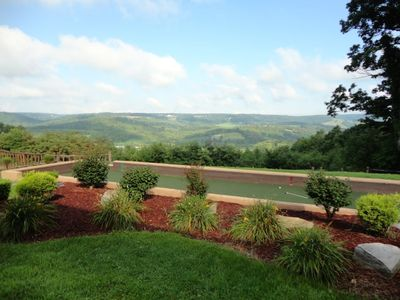 Bocce-ball court & putting green just off the deck and patio. Look at that view!