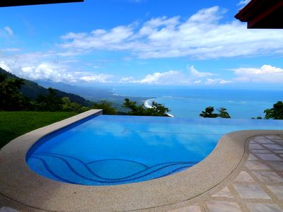Spectacular view of the 50' pool+Pacific coastline~1 of many seen from the Villa