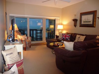 Large, warm den area with fantastic views of ocean!  Large Lazy Boy Sofa.