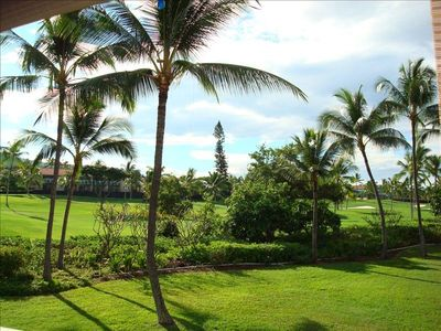 Keauhou condo rental - View from Lanai overlooking the Kona Country ClubOcean Course hole #13.