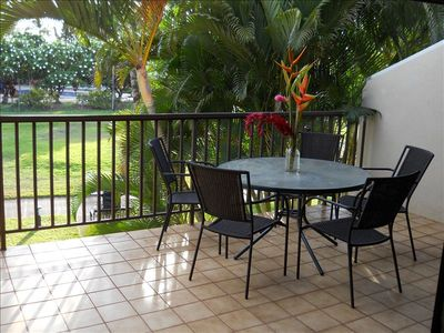 .Large Lanai overlooks Plantation style grounds, Pool and Spa