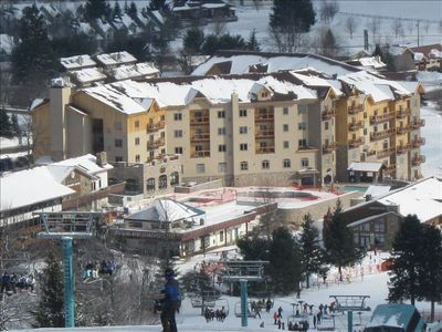 Ellicottville condo rental - Skiing down Mardi Gras right to the condo!