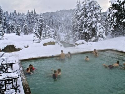 Soak for hours after skiing in fantastic hot springs nearby!