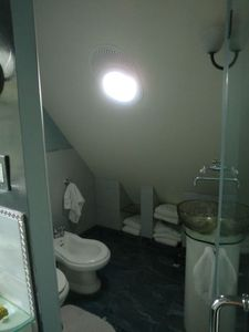 Brooklyn house rental - toilet, bidet, another sink and plenty of towels