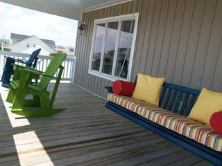 Oak Island house photo - Relax and enjoy the view, rockers and 6' sleeping swing