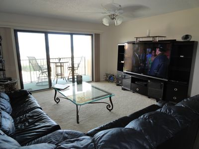 "Leather sofa, 70"" Sharp Aquos LED TV, Blue Ray, Balcony view to die for."