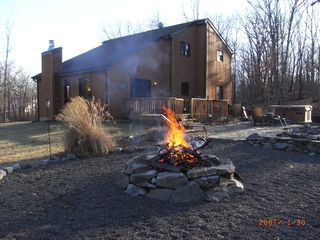 Bushkill chalet photo - firepit and house