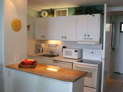 Our comfortable island-style retreat includes a fully stocked kitchen.