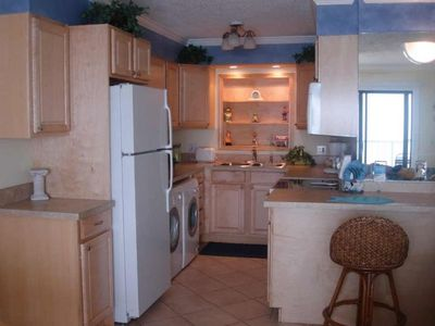 Fully equipped new kitchen at our Panama City Beach condo rental at the Summit