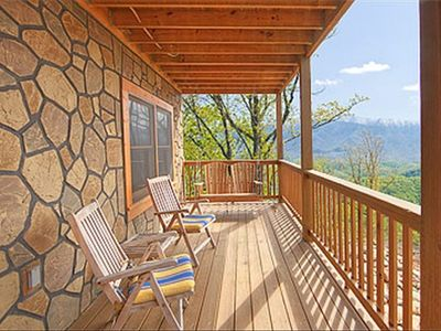Gatlinburg cabin rental - Large terrace level deck with swing and 4 chairs - VIEW !!!!