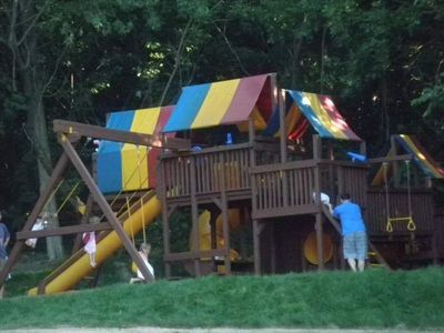 Gigantic playset is in a shady spot near the Lodge House - the kids LOVE it!