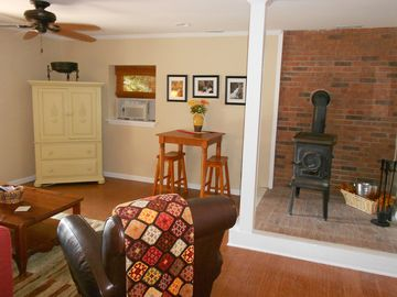 Downstairs Family Room with Wood-Burning Stove