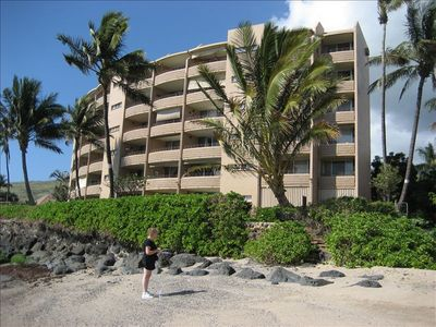 Maalaea townhome rental - View of condo from small sandy beach - very private