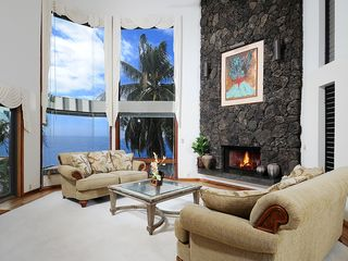 Honolulu house photo - The formal living room has a lava rock fireplace & is located on the 2nd floor