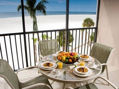 Breakfast on the lanai with Gulf of Mexico views.