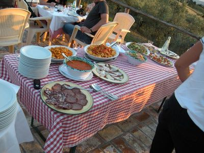 Buffet at the swimming pool with typical tuscan food