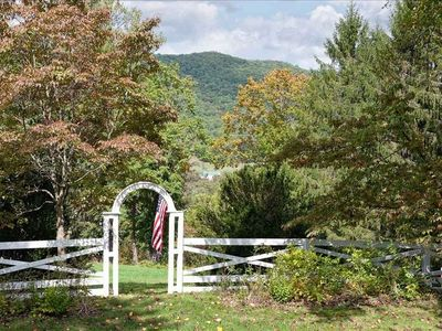 Front yard overlooks acre of property, Warm Springs Gap, Courthouse clock tower