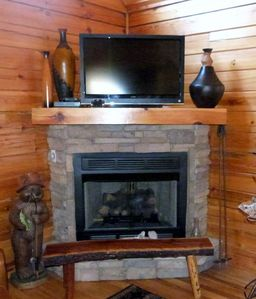Stackable Stone gas fireplace for those cool nights!