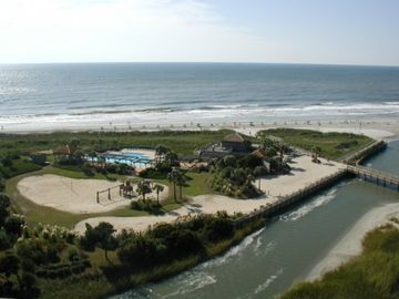 View from balcony of the Oceanfront Beach Club Bar & Grill and adjancent Pool