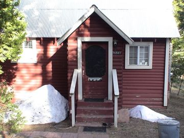 Long Barn cabin rental - The Little Red Cabin Front